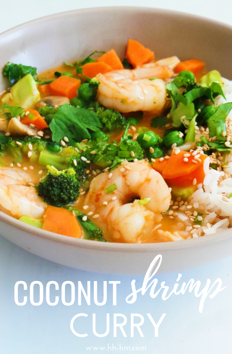 Coconut shrimp curry - a tasty and healthy dinner that is spicy, creamy and simply delicious! You can make this easy Thai shrimp recipe in around 30 minutes, using red curry paste, coconut milk, lime leaves and vegetables. You can also easily use chicken instead of shrimp to make a healthy chicken curry.