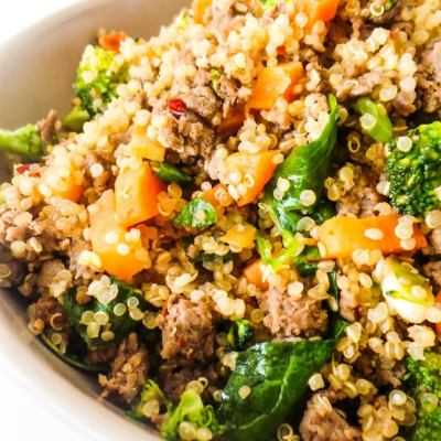 Healthy Ground Beef And Broccoli Fried Quinoa
