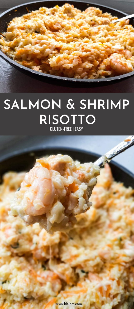 Easy salmon and shrimp risotto - healthy one-pan dinner idea that is super tasty and everyone will love!