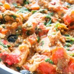 Mediterranean chicken skillet! A one-pan chicken dinner recipe with all your favorite Mediterranean diet flavors - garlic, feta cheese, tomatoes, olives and fresh herbs make this dish simply amazing! Serve for a healthy dinner with some bread or rice or keep it low carb - it's delicious either way!