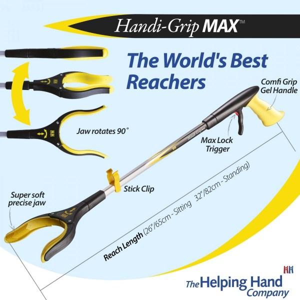 Features of a ADL Essentials Handi-Grip MAX Reacher. Long or short reach pick up stick