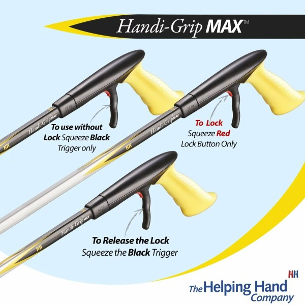 Helping Hand Handi-Grip Max locking trigger reacher/grabber, ideal for people with Parkinson's, Arthritis, recovering from stroke.