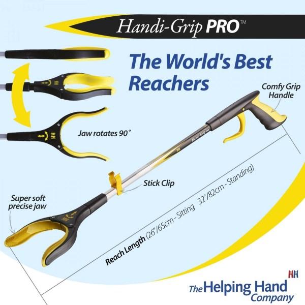 Features of a ADL Essentials Handi-Grip Pro Reacher. Long or short reach pick up stick