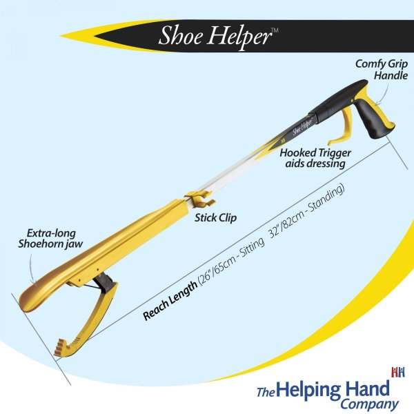 """The Shoe Helper will help you get your shoes on whilst reducing the need to bend, and help you to maintain an independent lifestyle. Available in 2 lengths 26"""" (65cm) or 32"""" (82cm)."""