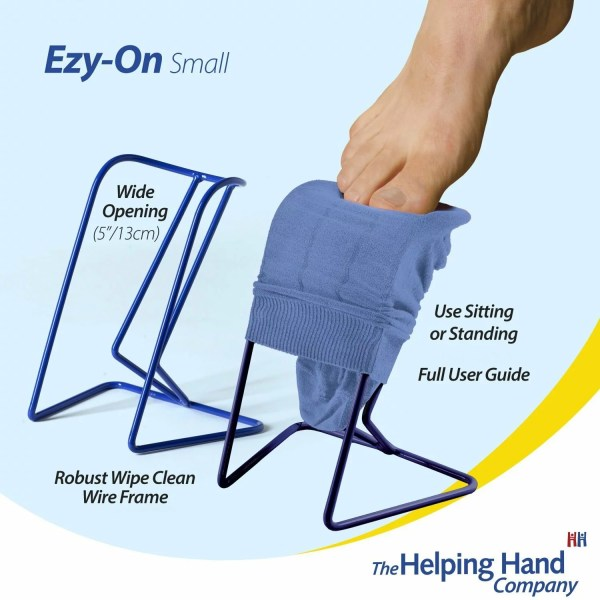 The Helping Hand Ezy-On Small Compression Sock & Stocking frame. Ideal for anyone that struggles reaching, bending and stretching when getting dressed. Robust wipe clean wire frame with a wide opening