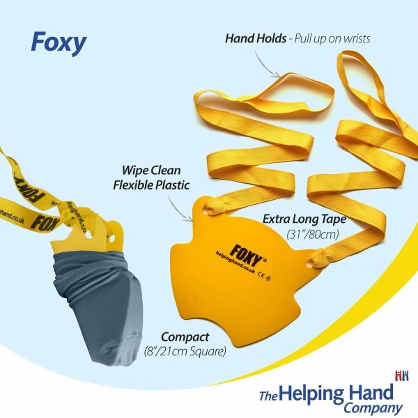 The Foxy sock applicator. Simple to use, Minimum fuss. Ideal for anyone that struggle reaching, bending and stretching when getting dressed.