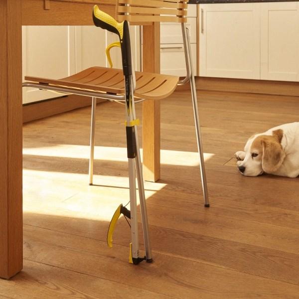 Attach your reacher/grabber to a chair leg, walking stick, wheelchair, crutch or walking frame using a handy stick clip