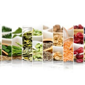 54652114 - photo of chlorella, berries and seeds abstract mix slices