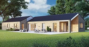 Forskudt længehus med overdækket terrasse