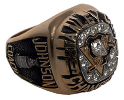 1991 Stanley Cup ring belonging to Pittsburgh Penguins head coach Bob Johnson.