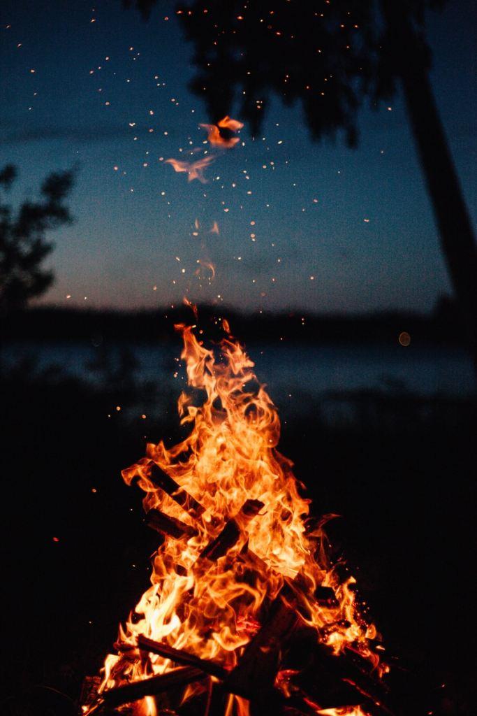 close view of bonfire