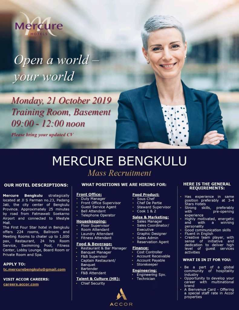 mercure bengkulu mass recruitment