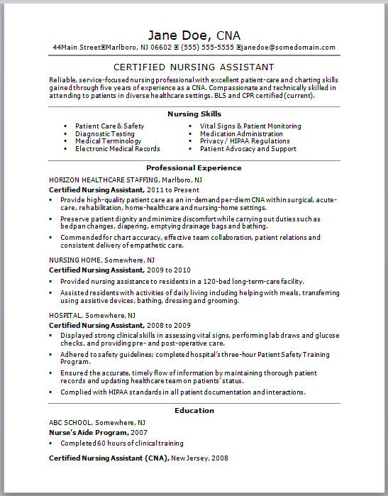 sample resume for a certified nursing assistant