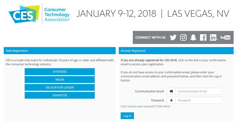 CES 2018 Register
