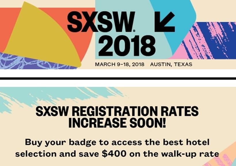 SXSW tickets discount