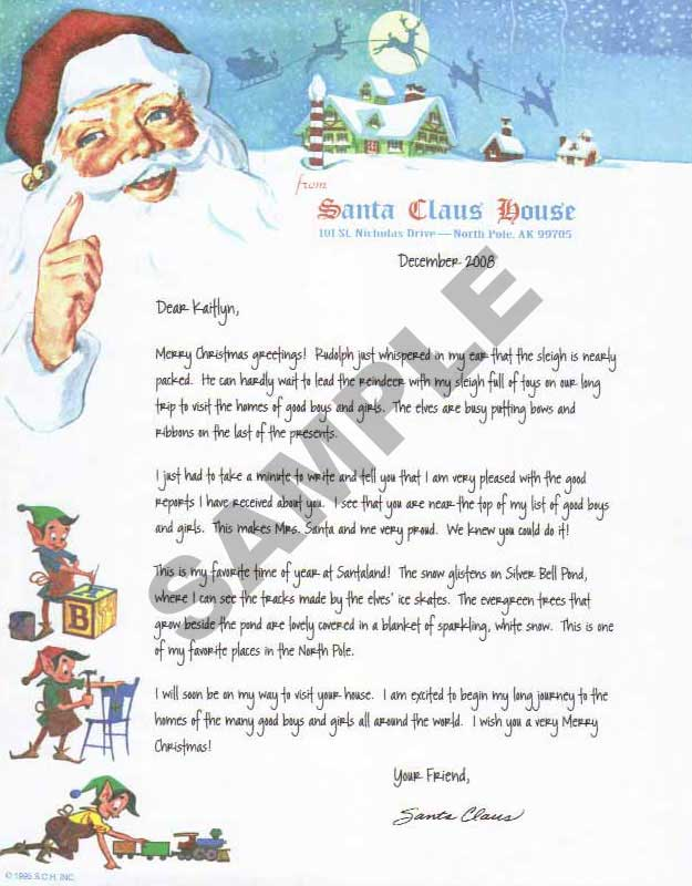 Santa video voicemail and letter options plus the newly updated emailed printable letter from santa claus house spiritdancerdesigns Gallery