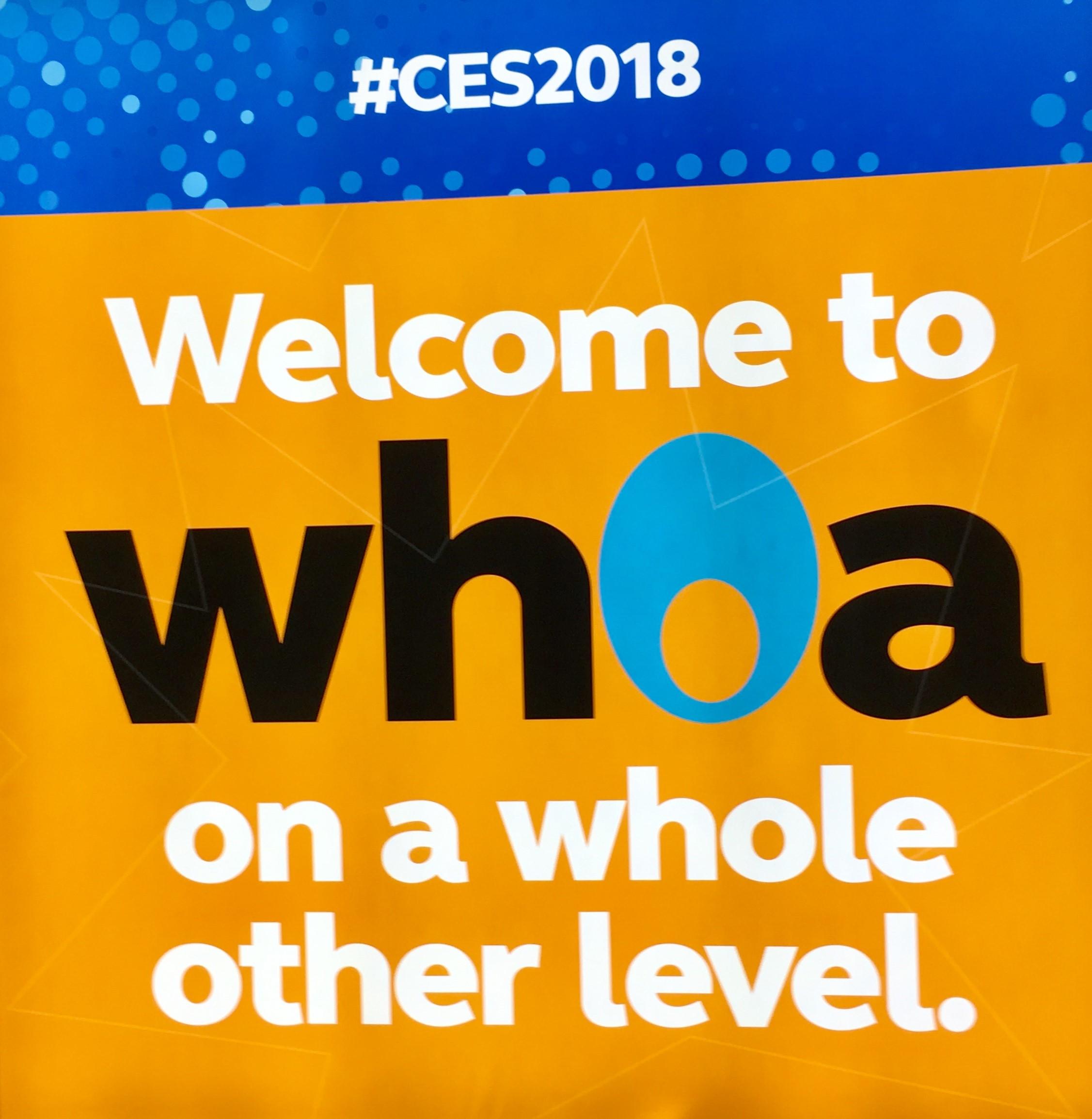 CES 2018 Whoa Sign