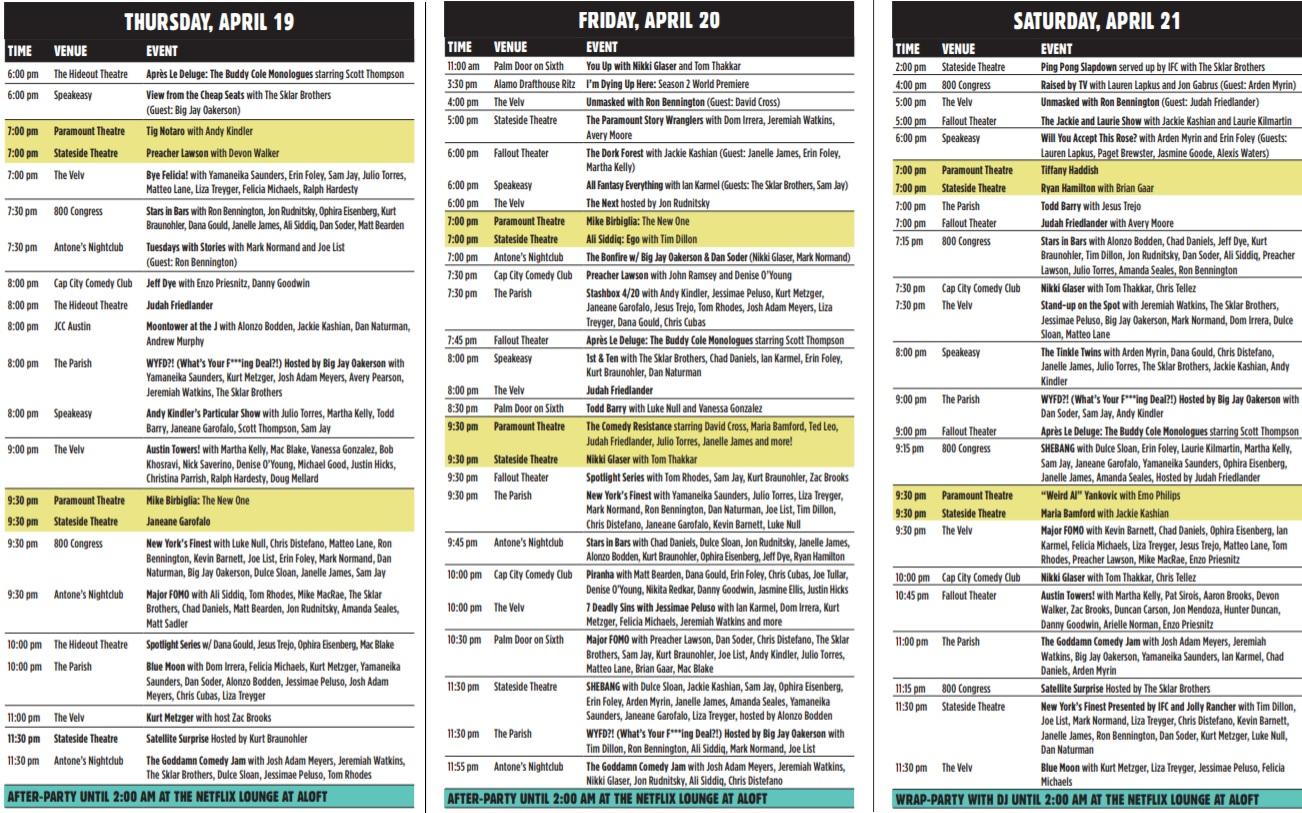 Moontower schedule