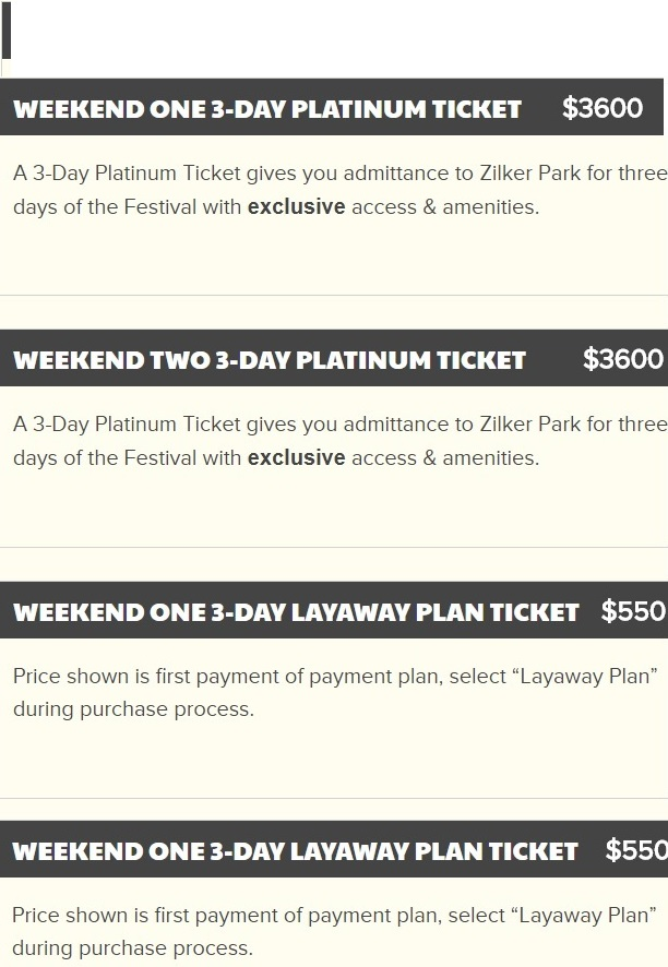 ACL 2018 Platinum Tickets