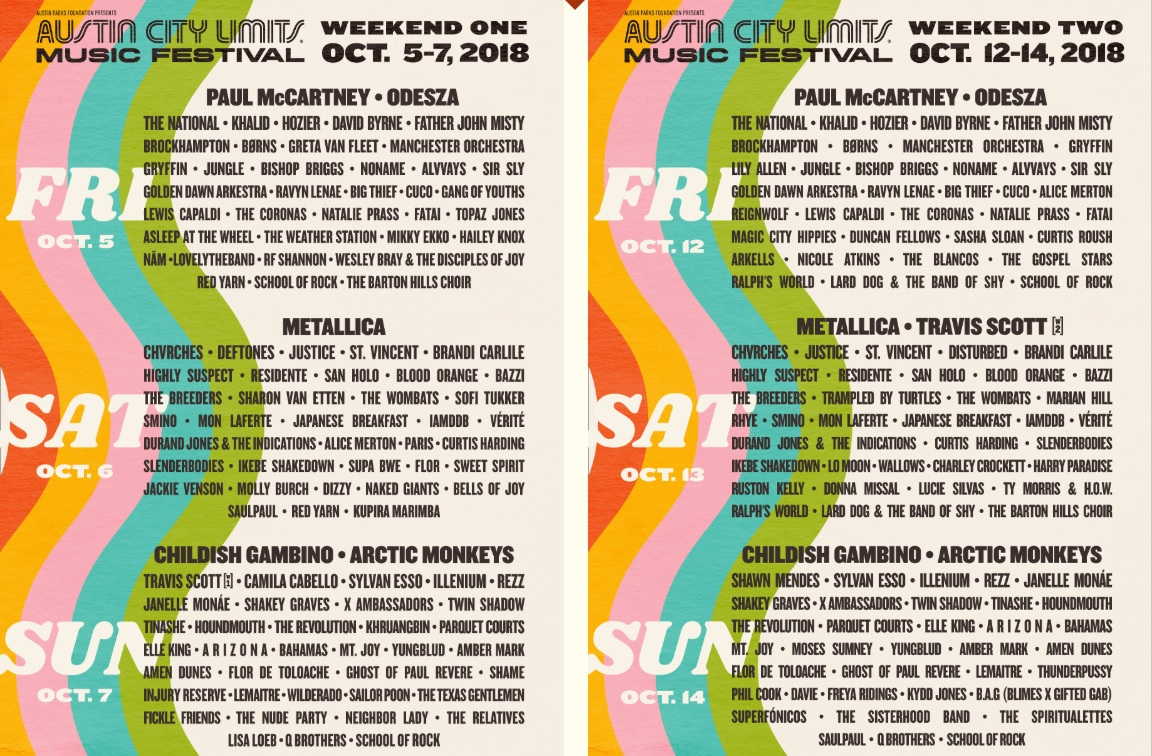 ACL Lineup 2018