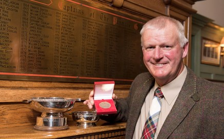 World Hickory Open Champion Sandy Lyle is pictured with his trophies at Panmure Golf Club.   © Andy Thompson Photography / ATIMAGES