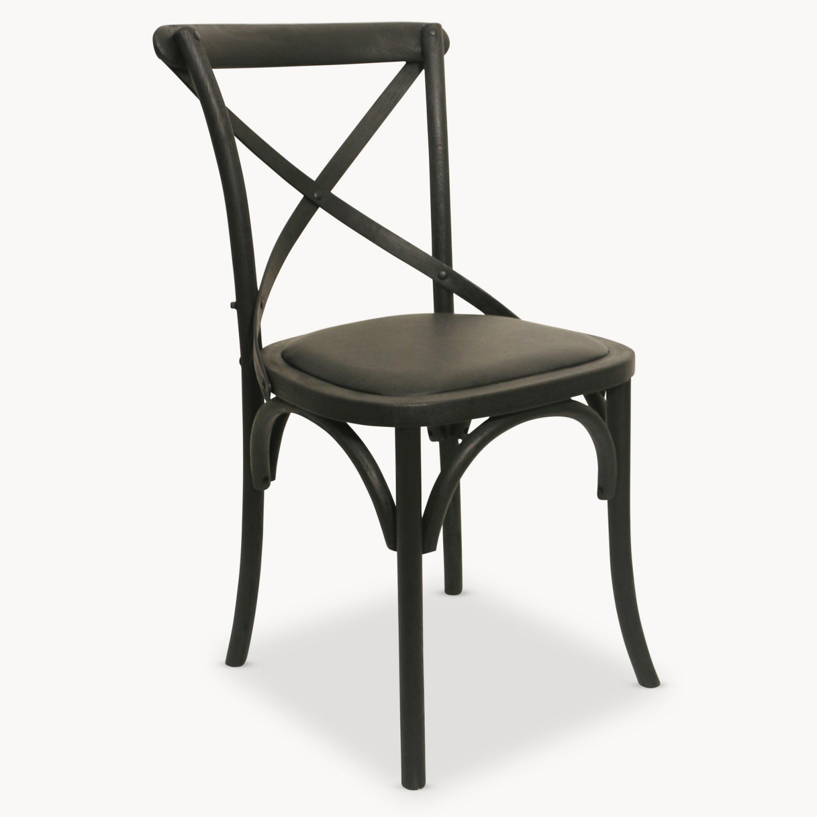 Black Oak And Leather Cross Back Dining Chai