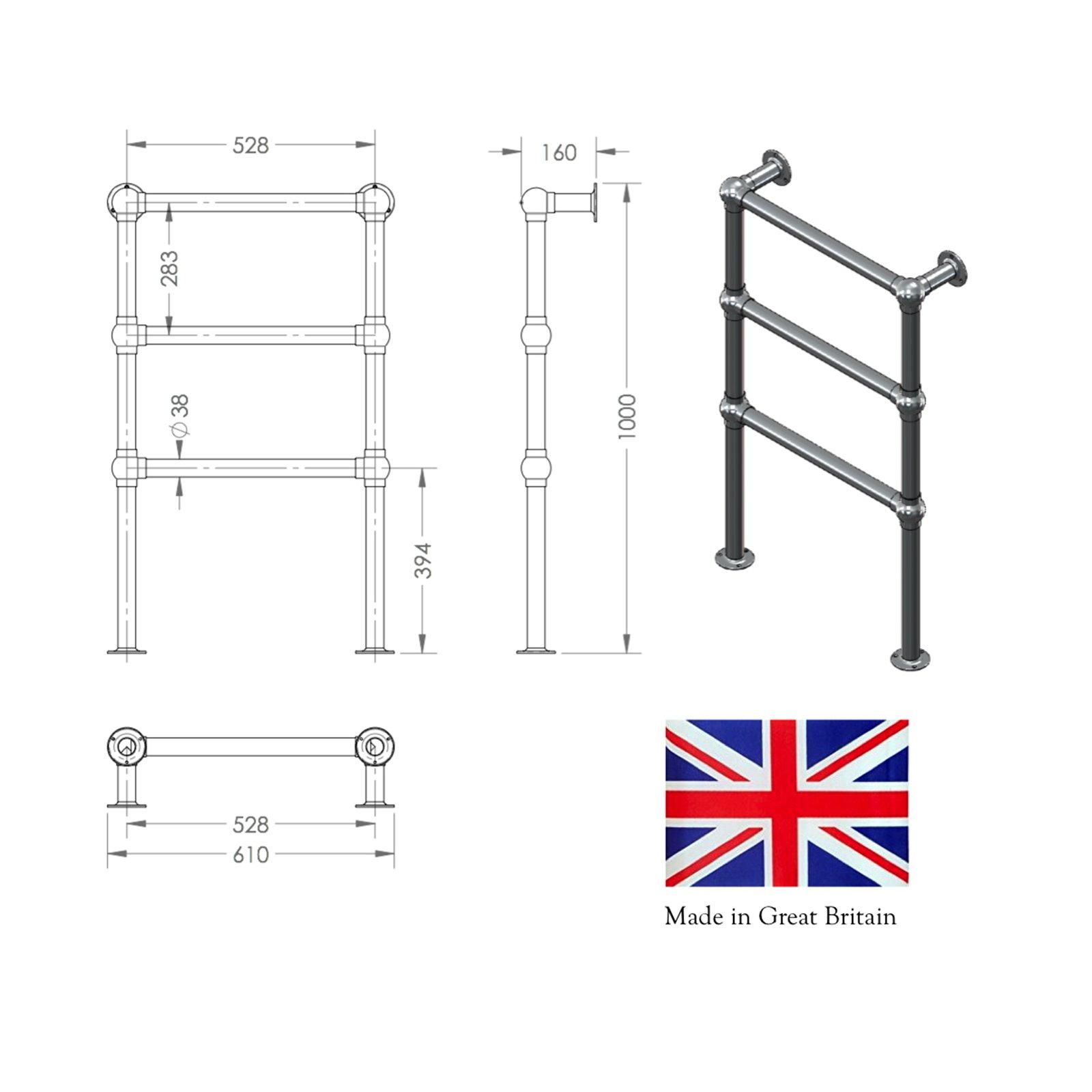 Floor Standing 4 Rail Towel Warmer 32mm Tube