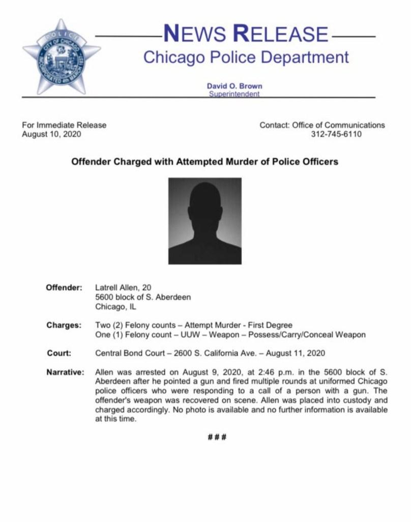 Latrell Allen arrest form