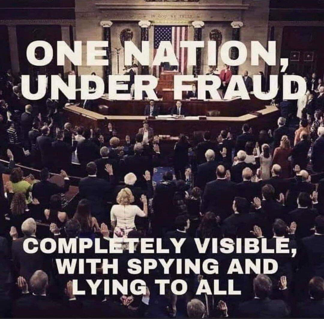 One nation, under fraud, completely visible image