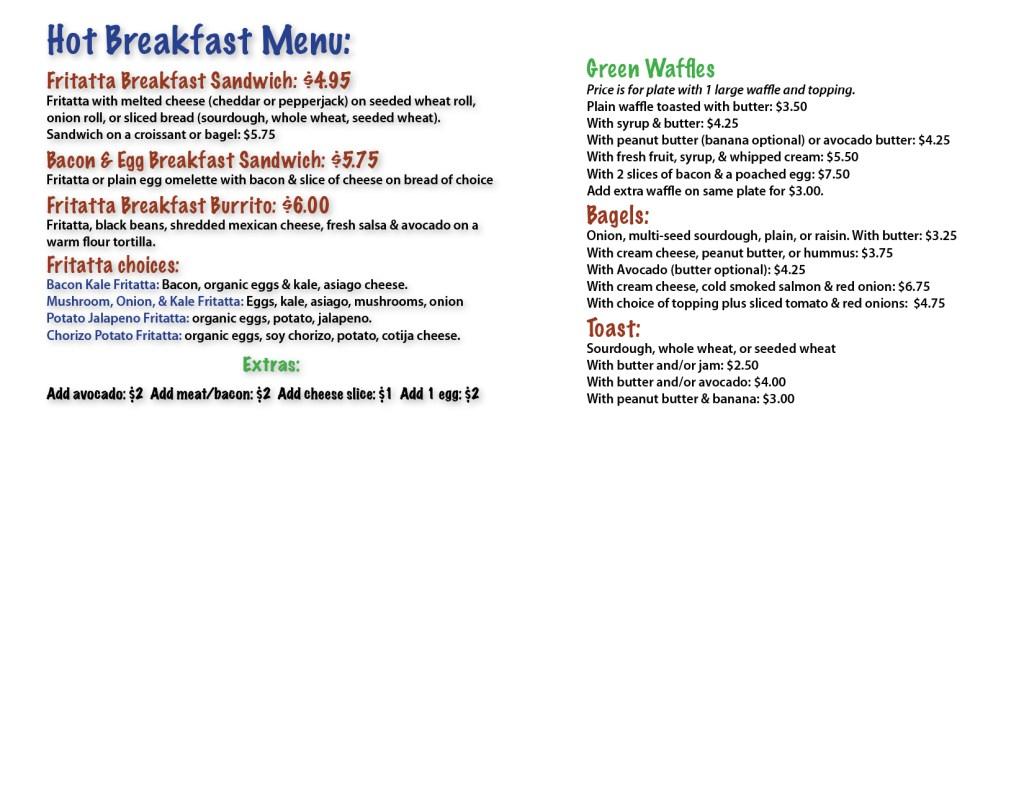 Hidden Fortress Cafe breakfast menu