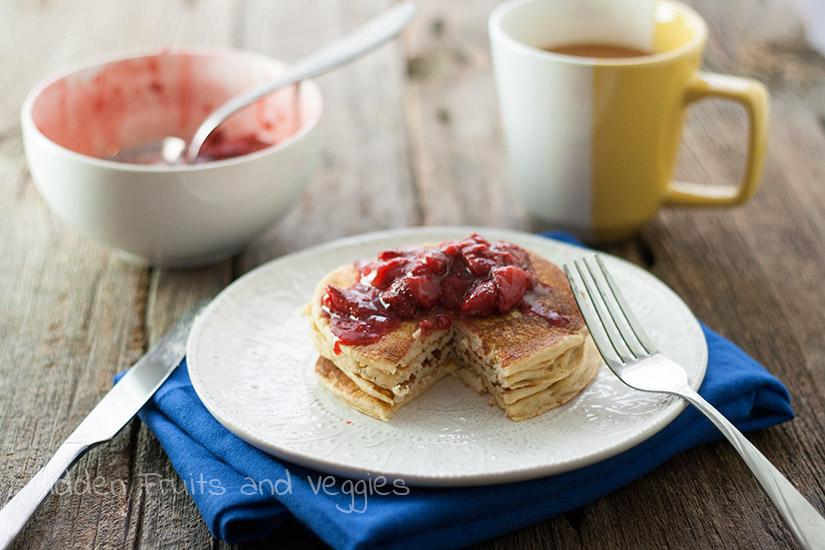 Lemon Ricotta Pancakes with Strawberry Sauce
