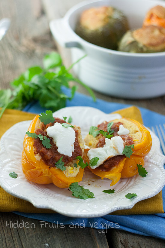Jalapeno Cornbread Stuffed Peppers with Enchilada Sauce