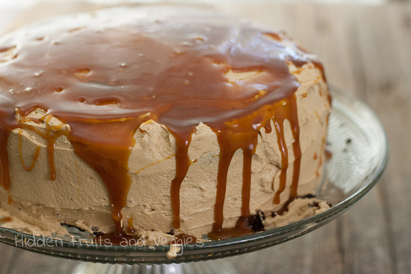 Chocolate Cake with Cookie Butter Frosting and Whiskey Caramel Sauce