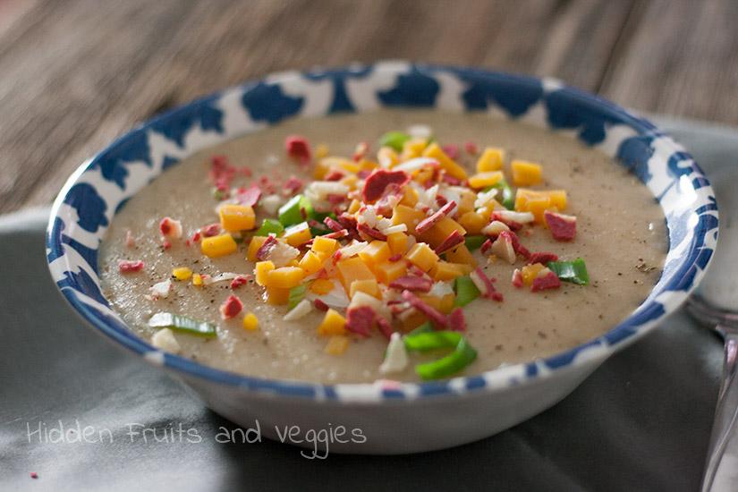 Slow Cooker Baked Potato Soup @hiddenfruitnveg