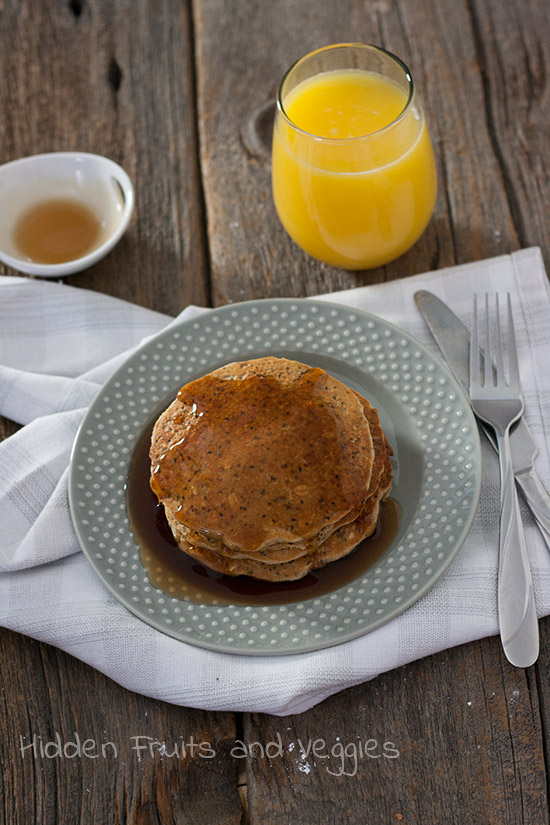 Flax, Chia, and Oatmeal Pancakes @hiddenfruitnveg