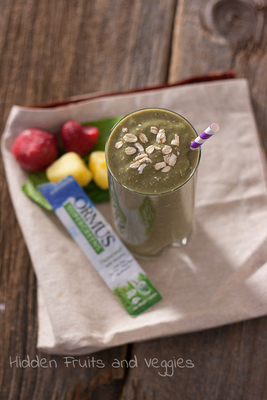 Minty Supergreens and Strawberry Smoothie @hiddenfruitnveg