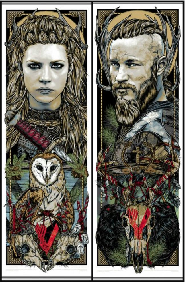"""Ragnar & Lagertha, Vikings"" print set by Rhys Cooper"