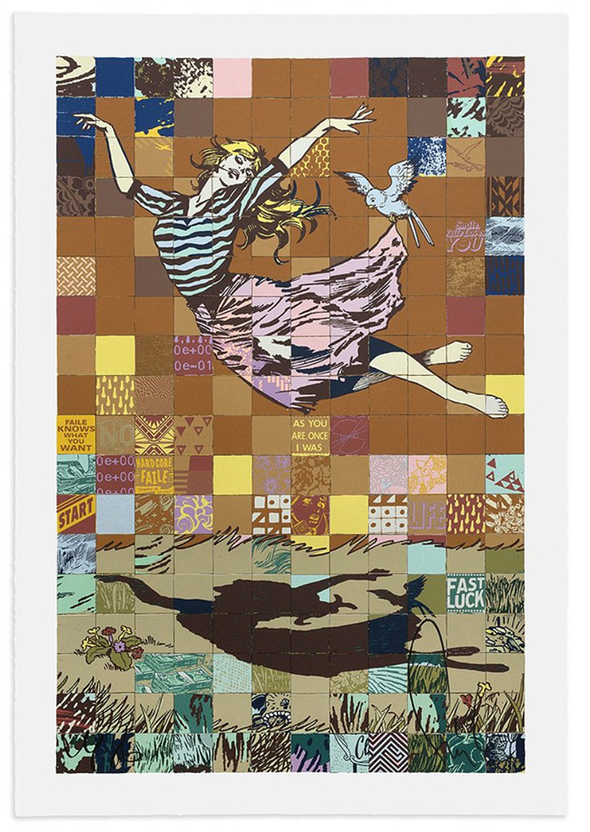 """""""Falling Girl"""" and """"Faile Stages"""" Show Poster by Faile"""