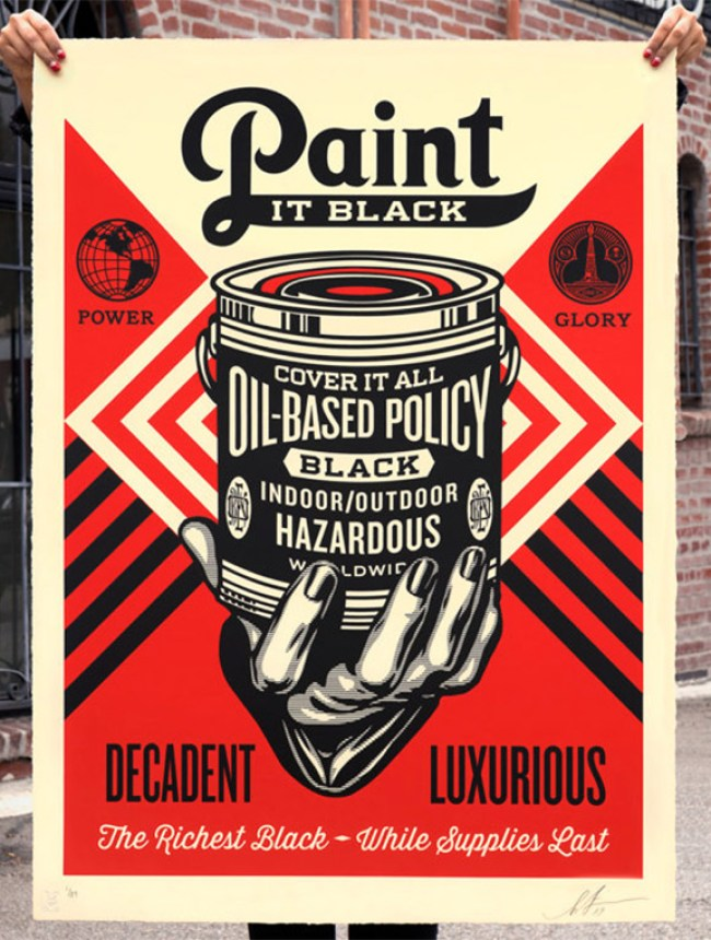 Paint it Black print by Shepard Fairey.
