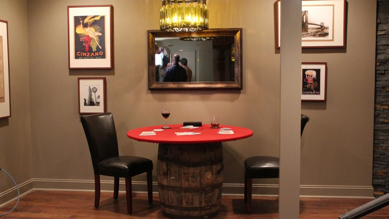 Framed Mirror TV in Man Caves Steakhouse Cave