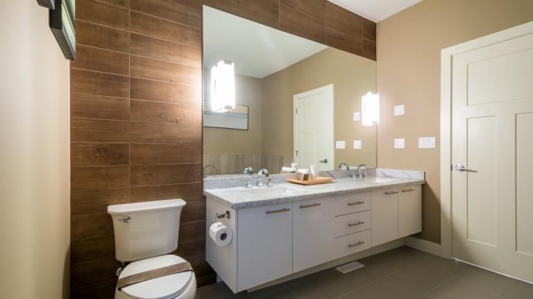 Vanity Mirror In Wood Toned Room
