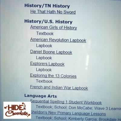Resource Report Print of Homeschool Tracker