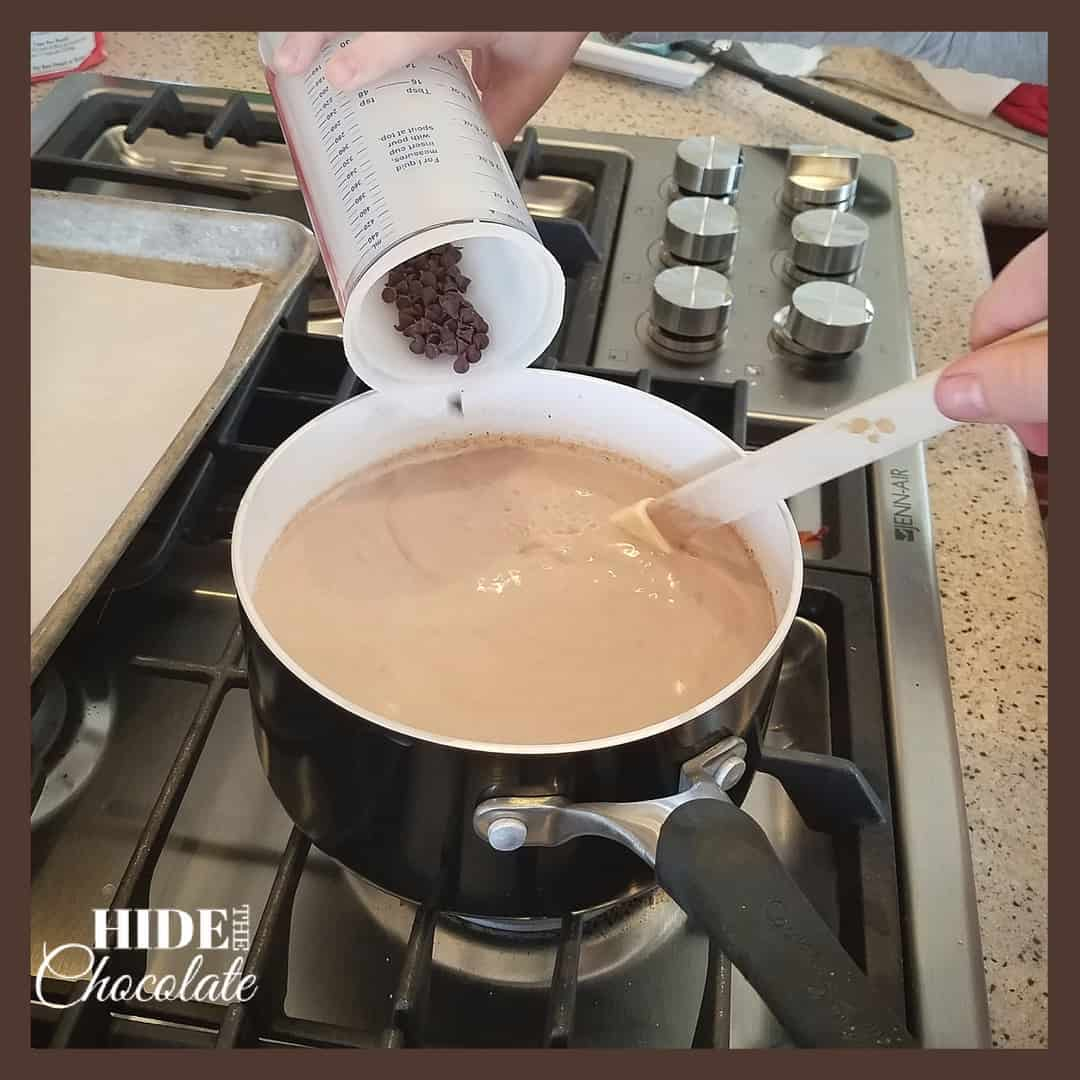 Mexican Hot Chocolate - Adding Chips