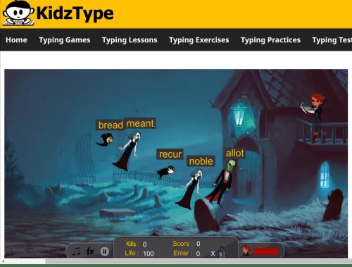 KidzType Vampire Hunter Free Typing Games