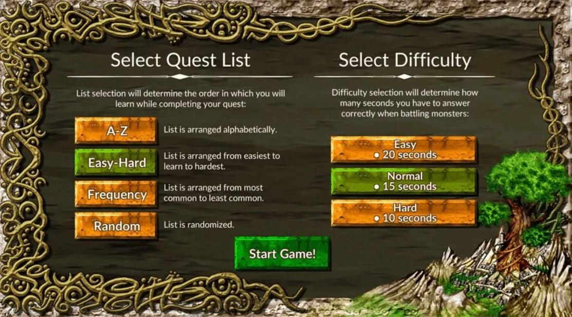 Vocabulary Quest Menu