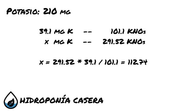 potasio nitrato de potasio, calculo hidroponico