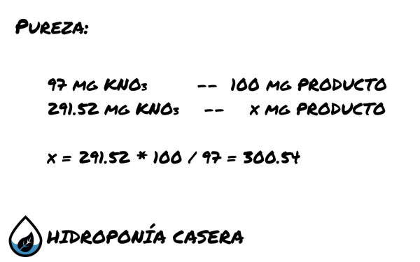 pureza nitrato de potasio hidroponia