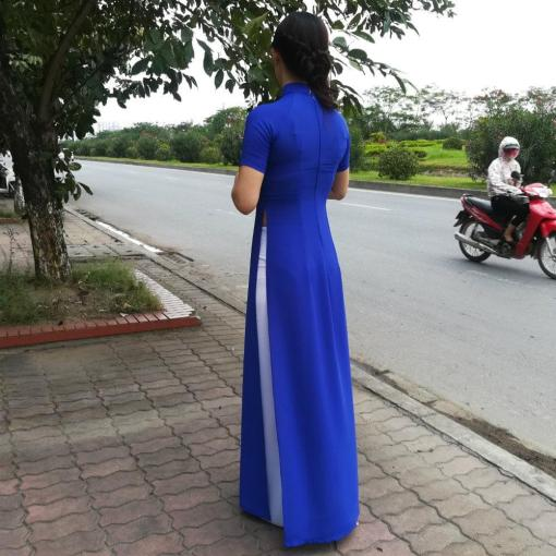Royal-Blue-Silk-White-Pant-Ao-Dai-Vietnam