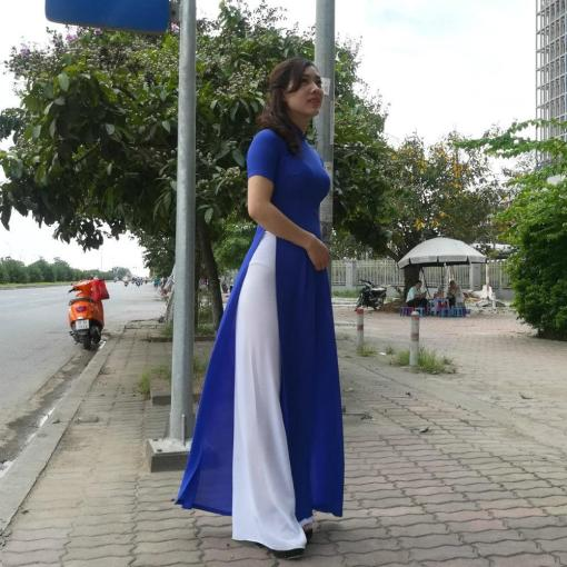 Deep Sea Blue Ao Dai