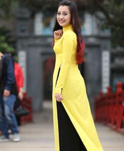 Ao Dai Vietnam Yellow Chiffon 4